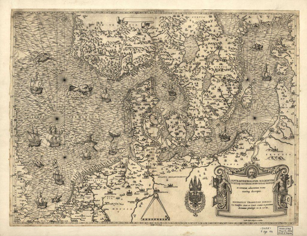 Карта Дании, 1558 г.