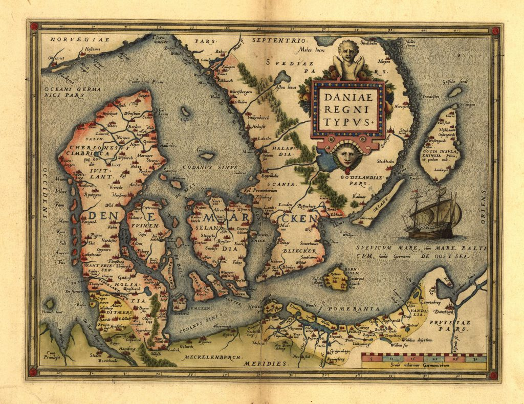 Карта Дании, 1570 г.