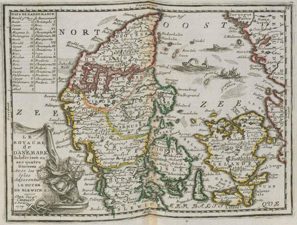 Карта Дании, 1719 г.