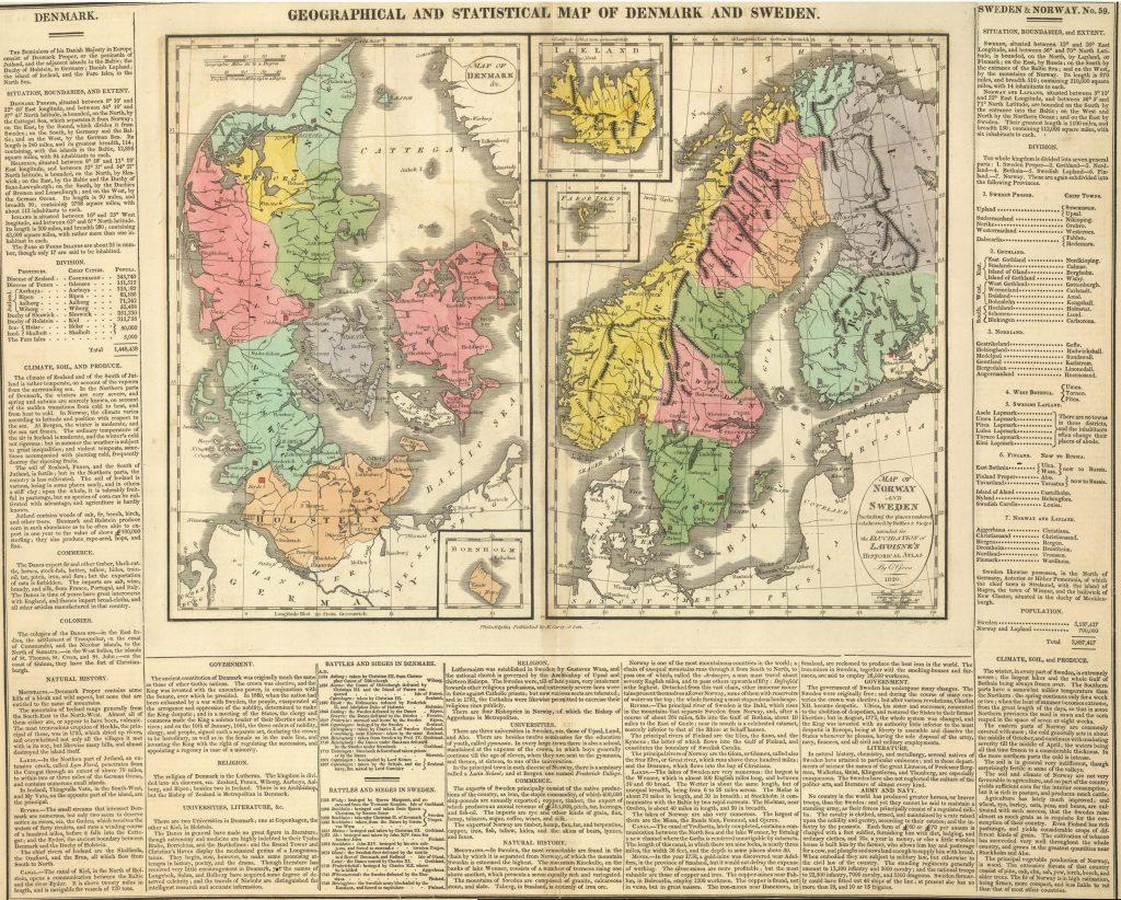 Карта Дании, Норвегии, Швеции и Исландии, 1820 г.