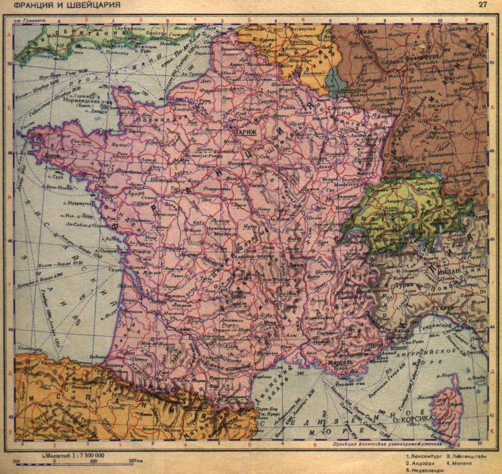 Карта Франции и Швейцарии, 1940 г.