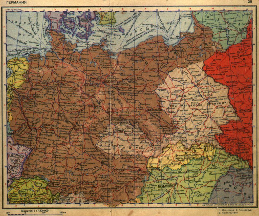 Карта Германии, 1940 г.