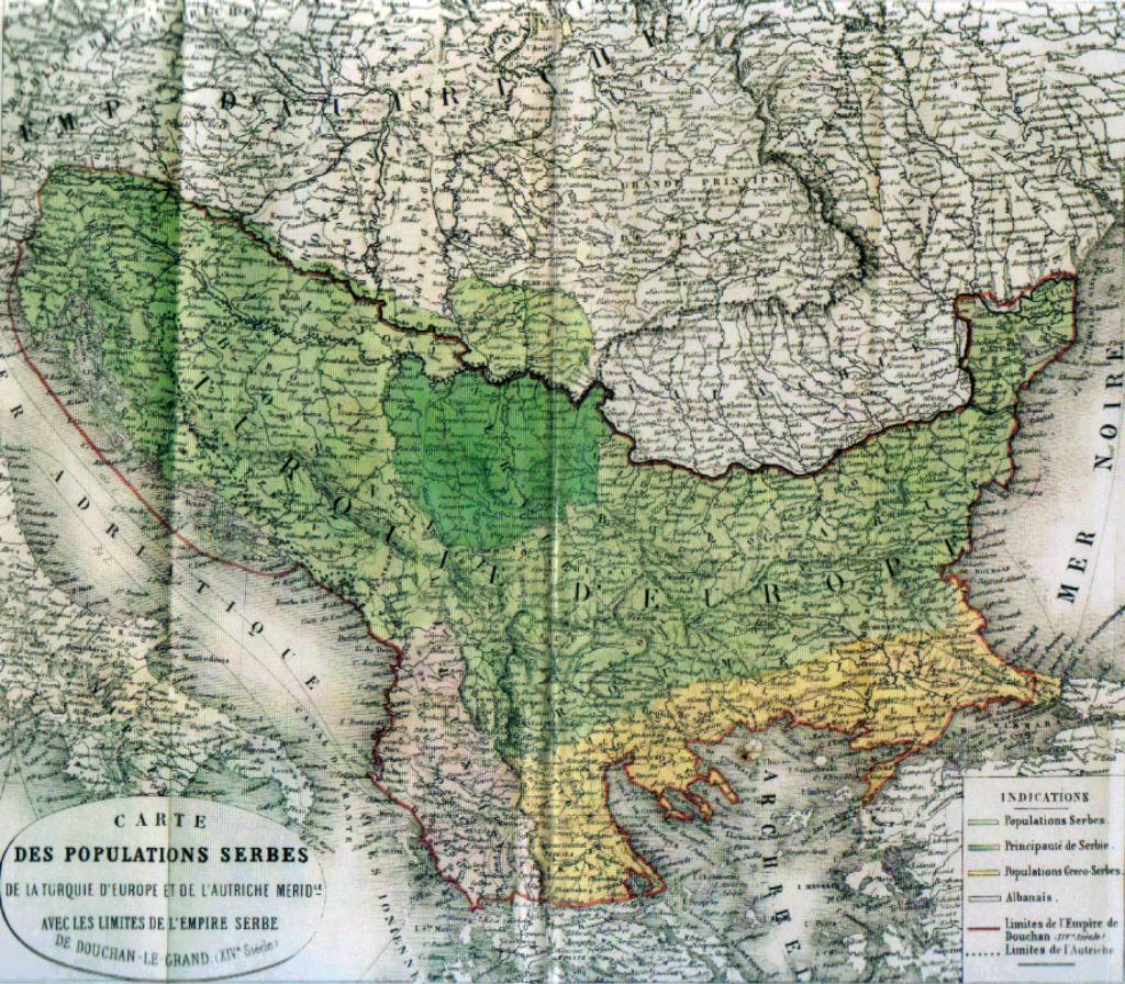 Карта Великой Сербии, 1862 г.