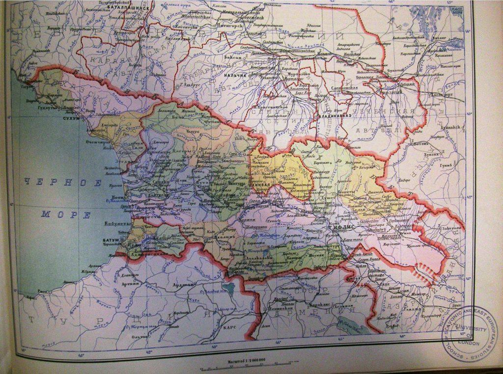 Карта Грузинской ССР, 1928 г.