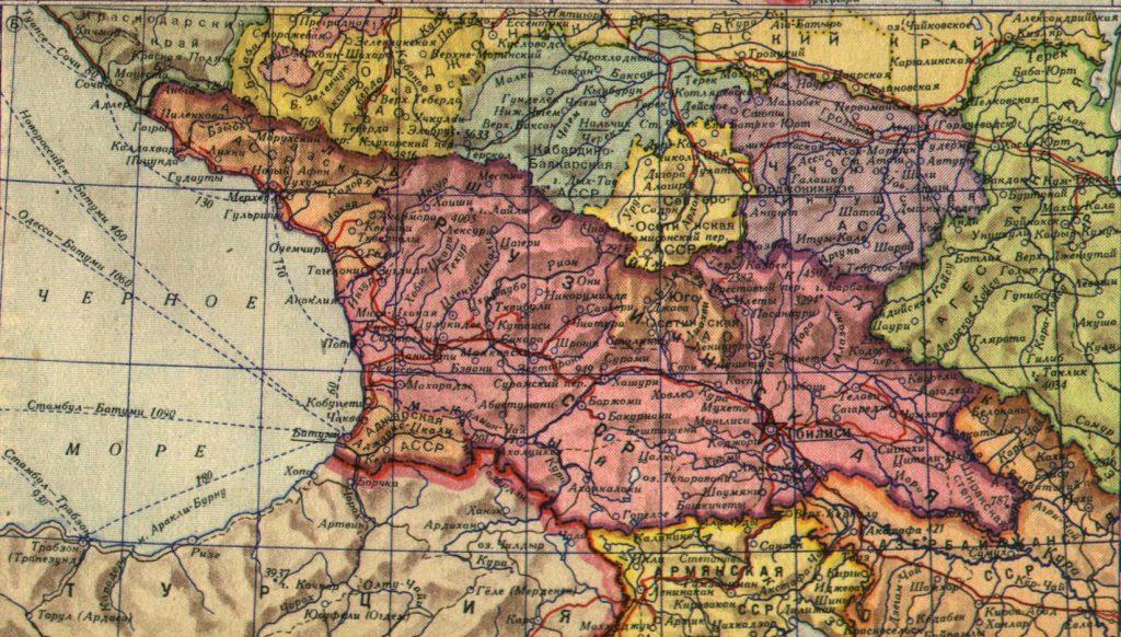 Карта Грузинской ССР, 1940 г.