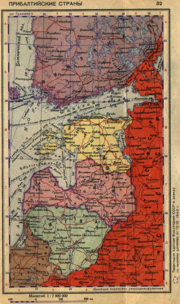 Карта Эстонии, Литвы и Латвии, 1940 г.