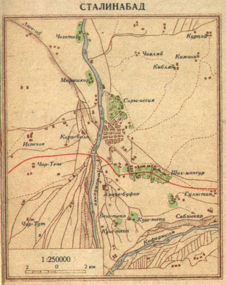 Карта Сталинабада (Душанбе), 1940 г.