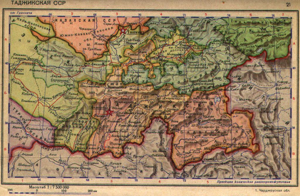 Карта Таджикской ССР, 1940 г.