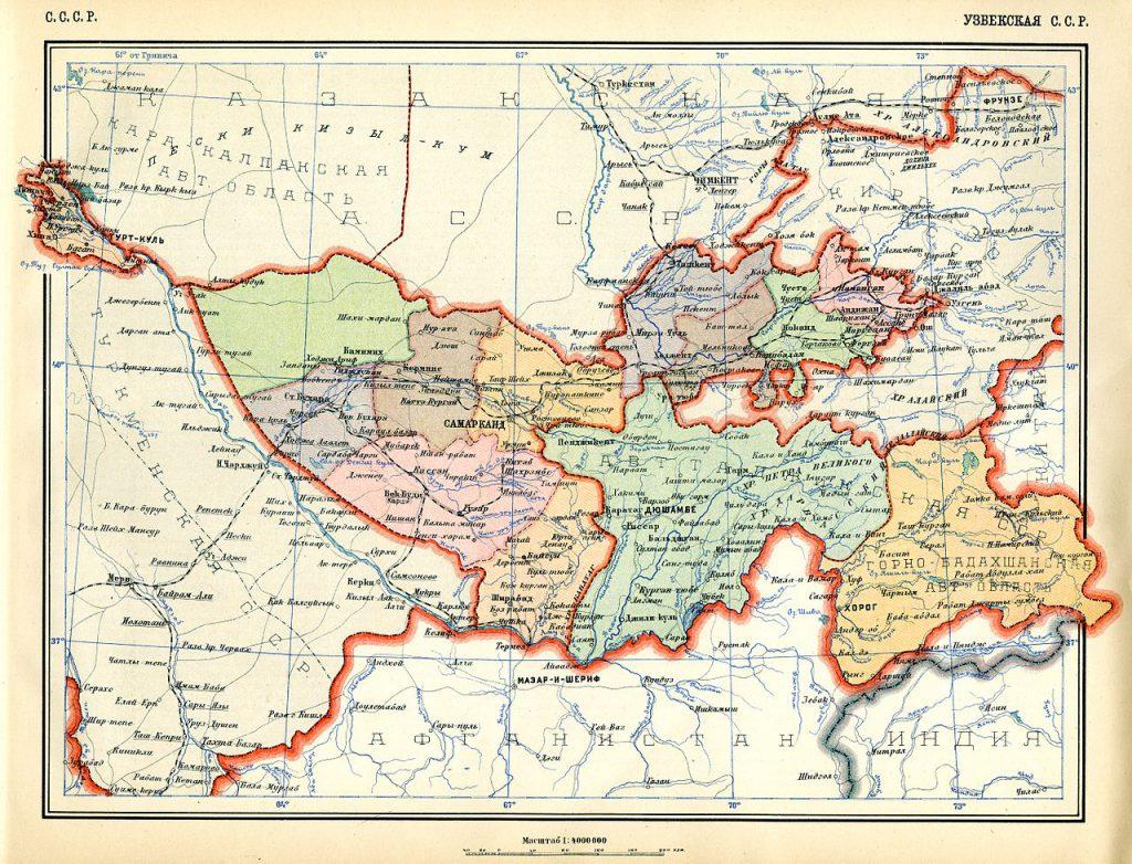 Карта Узбекской ССР, 1928 г.