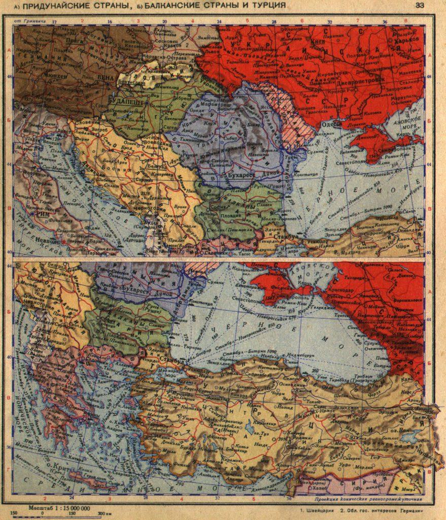Карта Балкан, Придунайских стран и Турции, 1940 г.