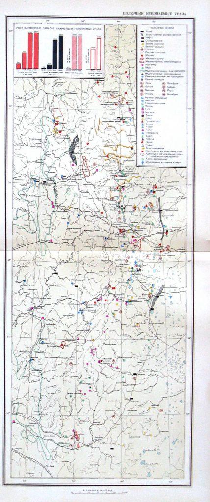 Карта полезных ископаемых Урала, 1940 г.