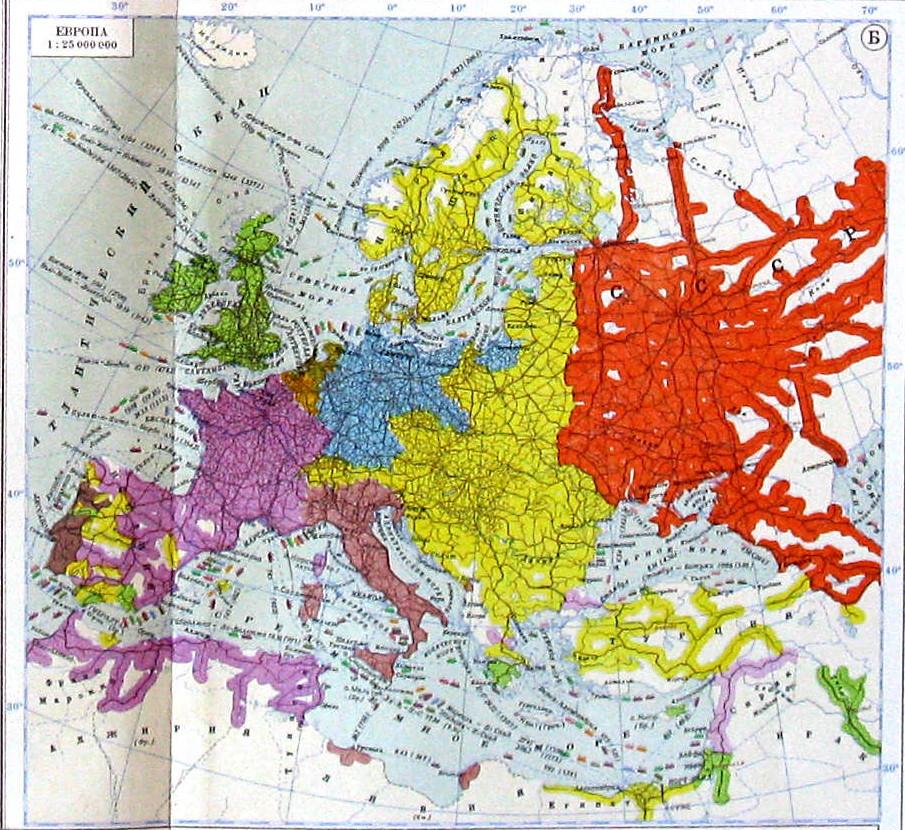 Карта железнодорожных и водных путей сообщения Европы, 1940 г.