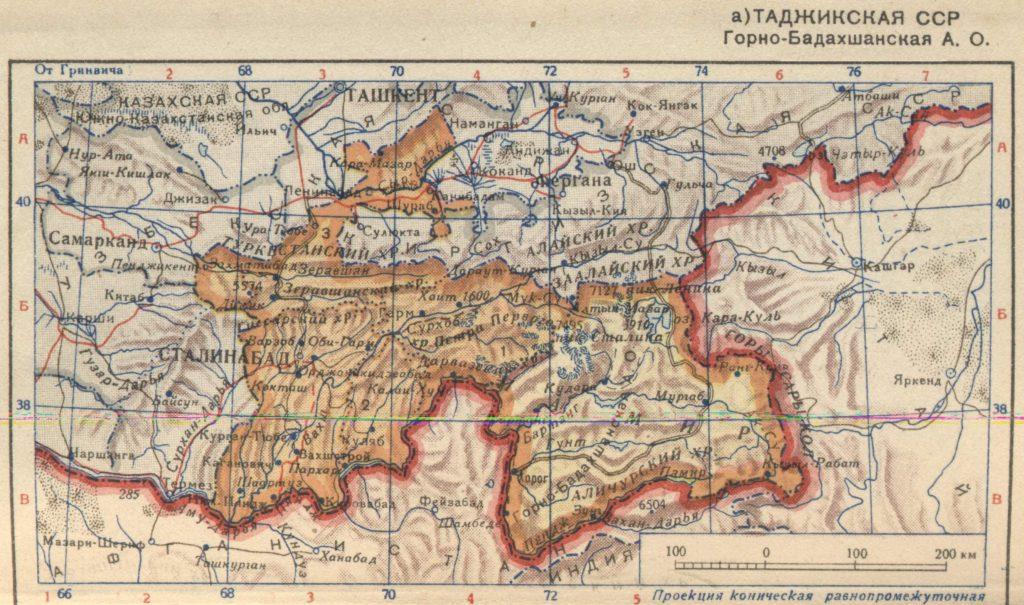 Карта Таджикской ССР, 1939 г.