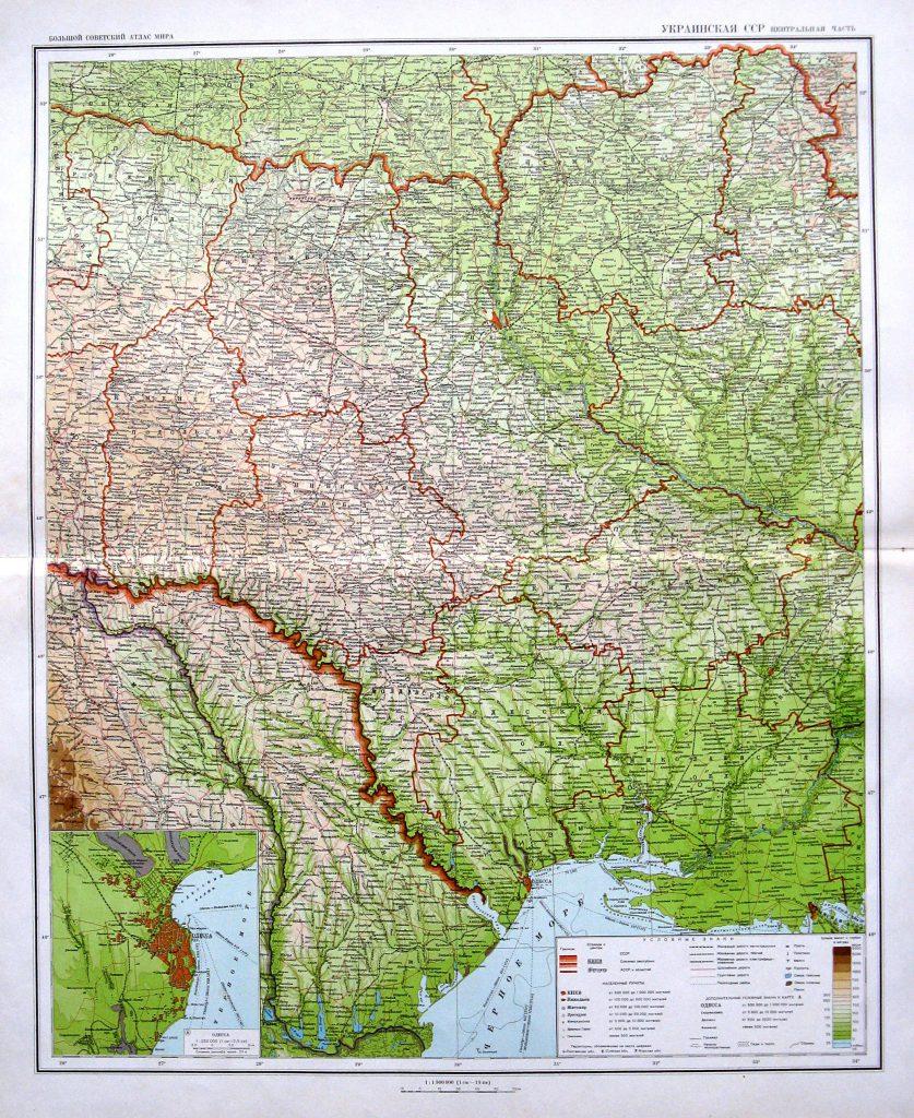 Политико-административная карта центральной части Украинской ССР, 1940 г.