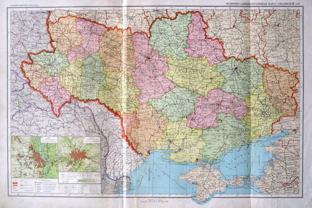 Политико-административная карта Украинской ССР, 1940 г.
