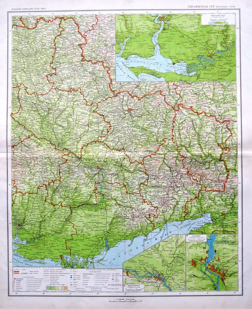 Политико-административная карта восточной части Украинской ССР, 1940 г.