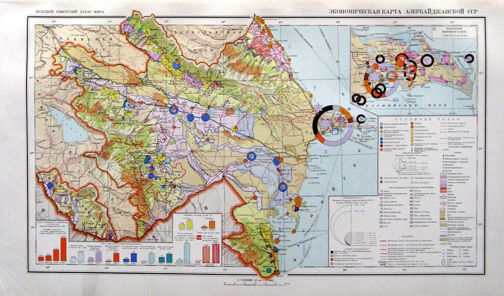 Экономическая карта Азербайджанской ССР, 1940 г.