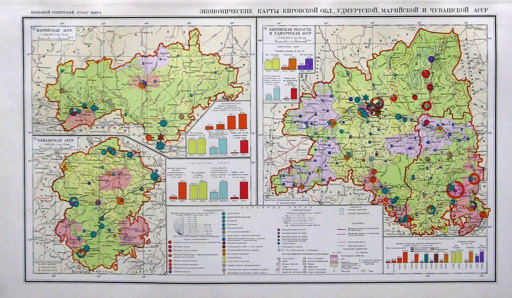 Экономические карты Кировской области, Удмуртской, Марийской и Чувашской АССР, 1940 г.