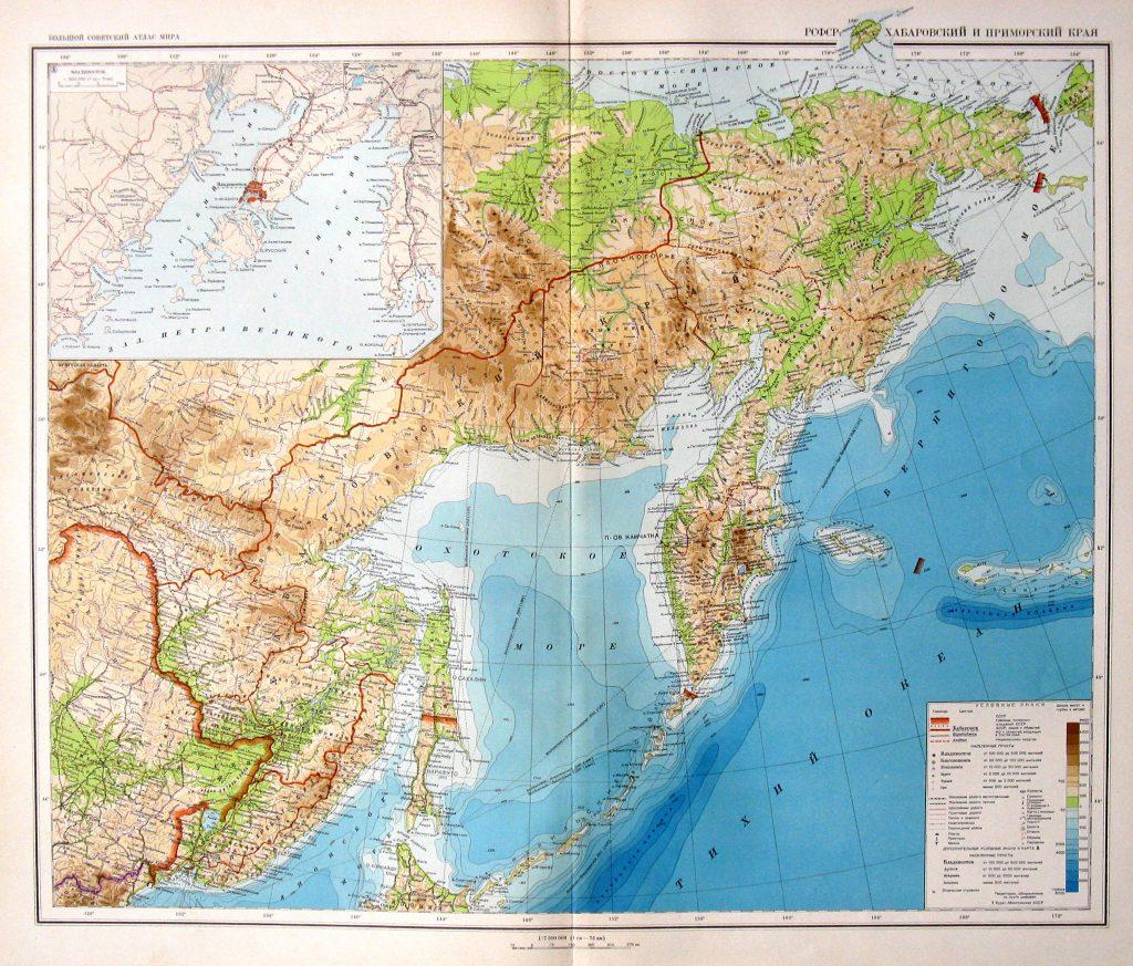 Физическая карта Хабаровского и Приморского края, 1940 г.