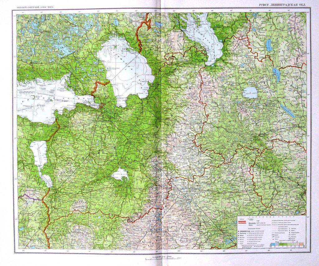 Карта Ленинградской области, 1940 г.
