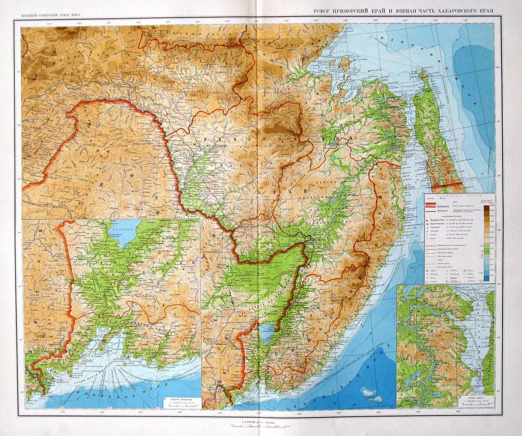 Физическая карта Хабаровского и южная часть Приморского края, 1940 г.