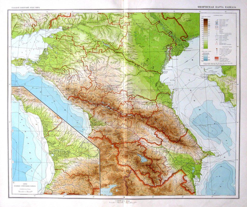 Физическая карта Кавказа, 1940 г.