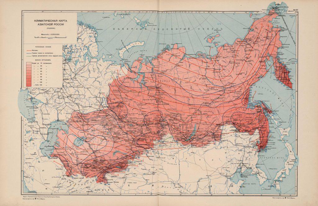 Климатическая карта Азиатской России, 1914 г.