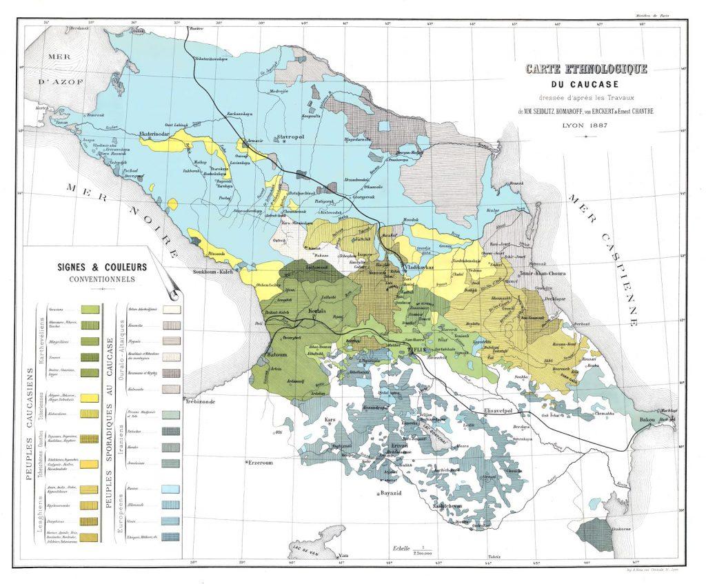 Этнографическая карта Кавказа, 1887 г.