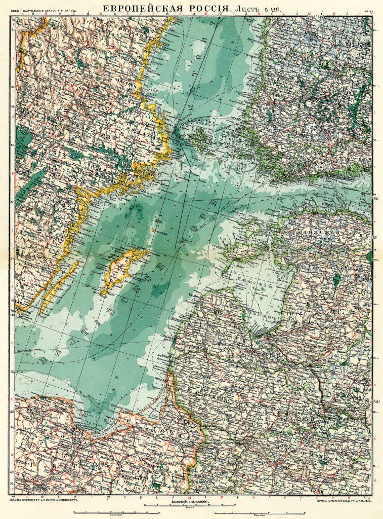 Карта Балтийского моря, 1910 г.