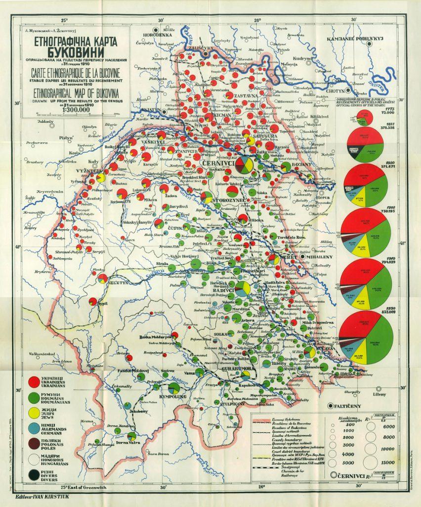 Этнографическая карта Буковины, 1910 г.