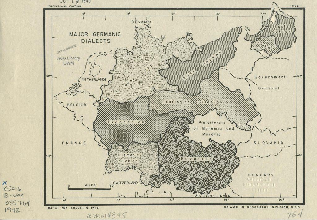Карта главных германских диалектов, 1942 г.