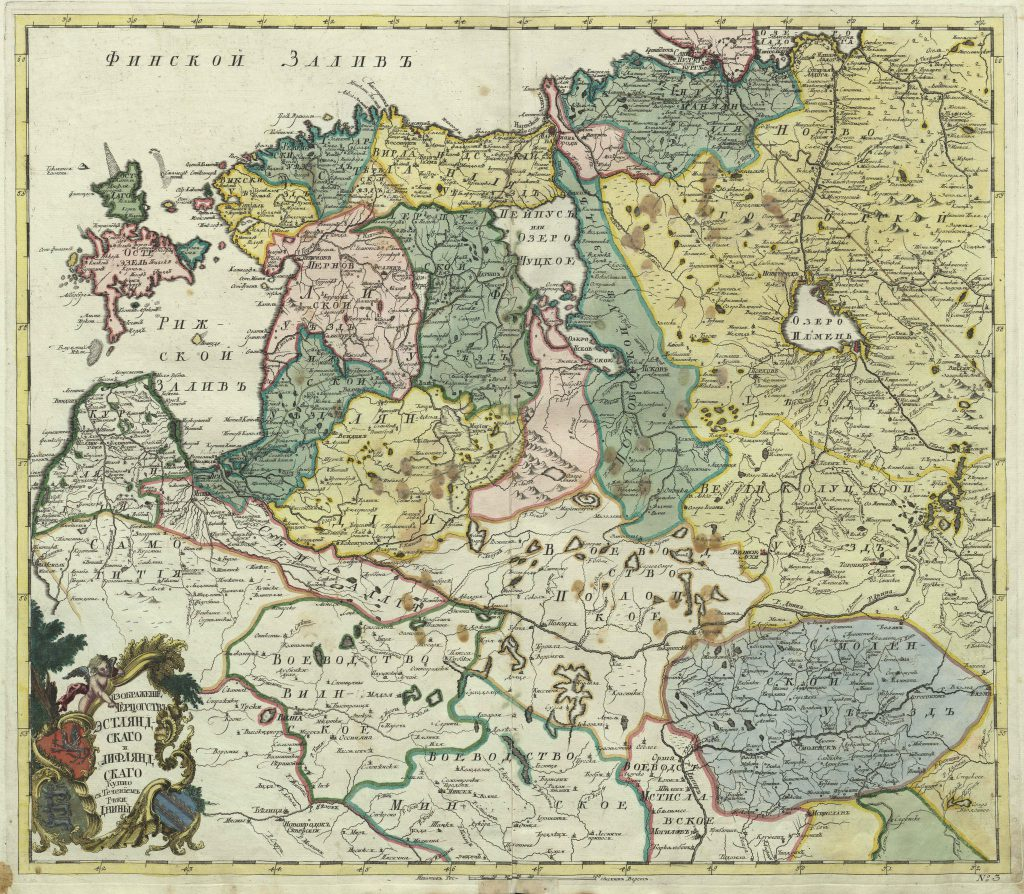 Карта герцогства Эстляндского и Лифляндского, 1745 г.