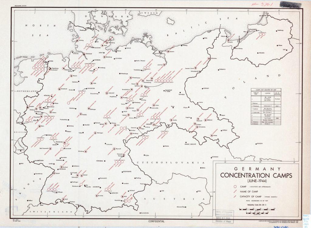 Карта концентрационных лагерей Германии, 1944 г.