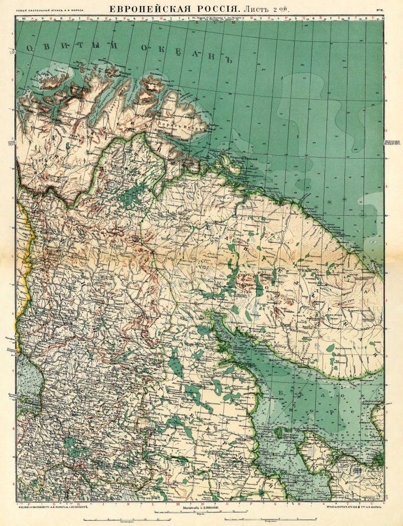 Карта Кольского полуострова и Карелии, 1910 г.