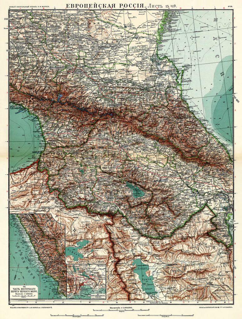 Карта Кавказа, 1910 г.
