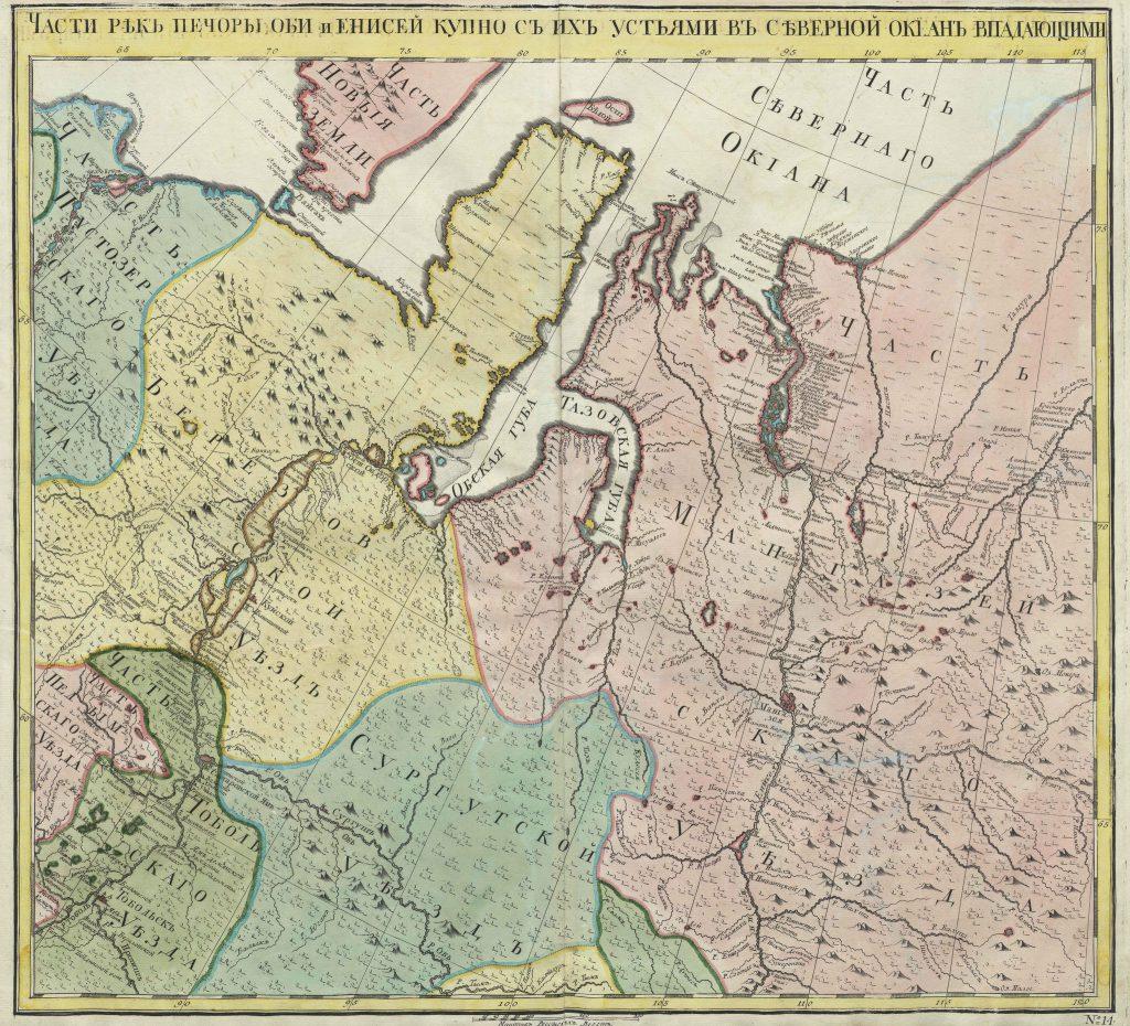 Карта Печоры, Оби и Енисея, 1745 г.