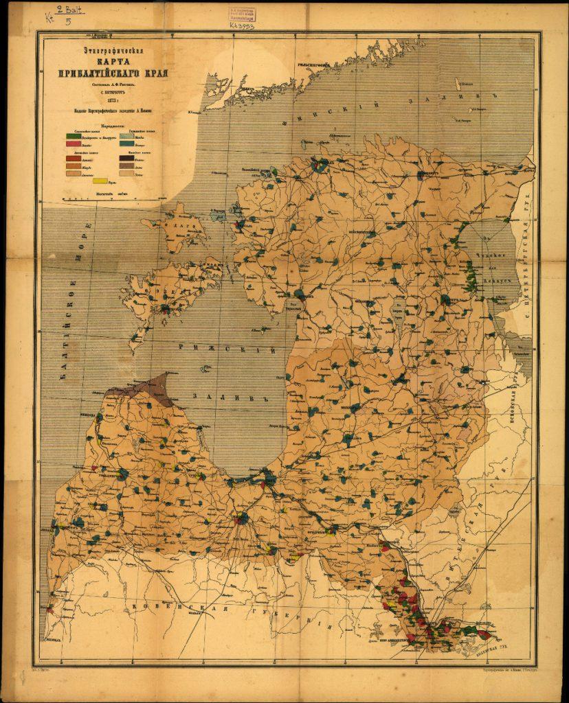 Этнографическая карта Прибалтийского края, 1873 г.