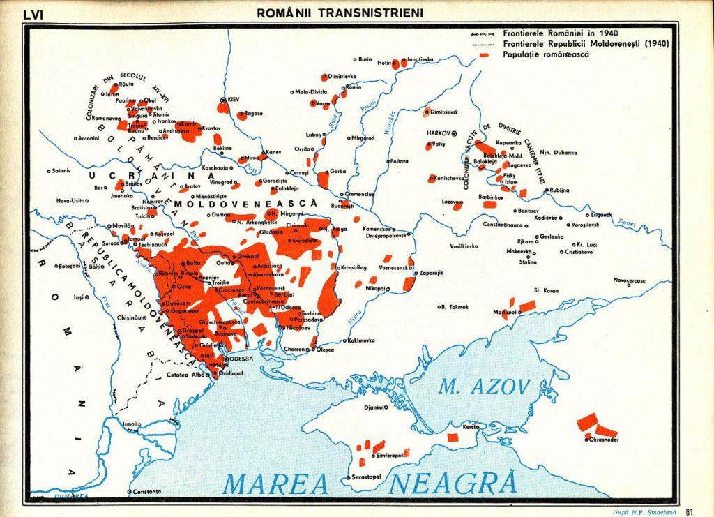 Карта румынских поселений на территории Украины, 1940 г.