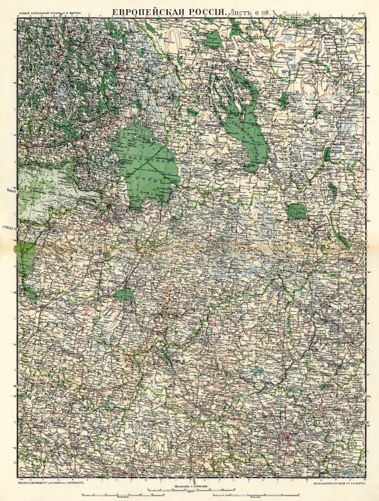 Карта Санкт-Петербургской губернии, 1910 г.
