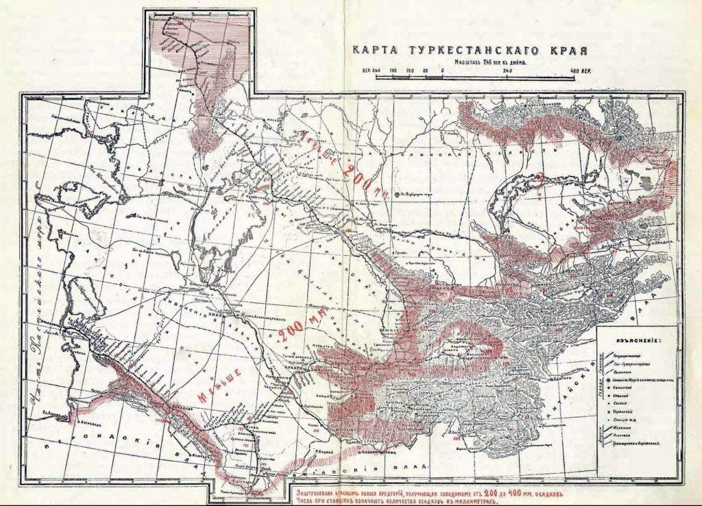 Карта Туркестанского края, 1886 г.