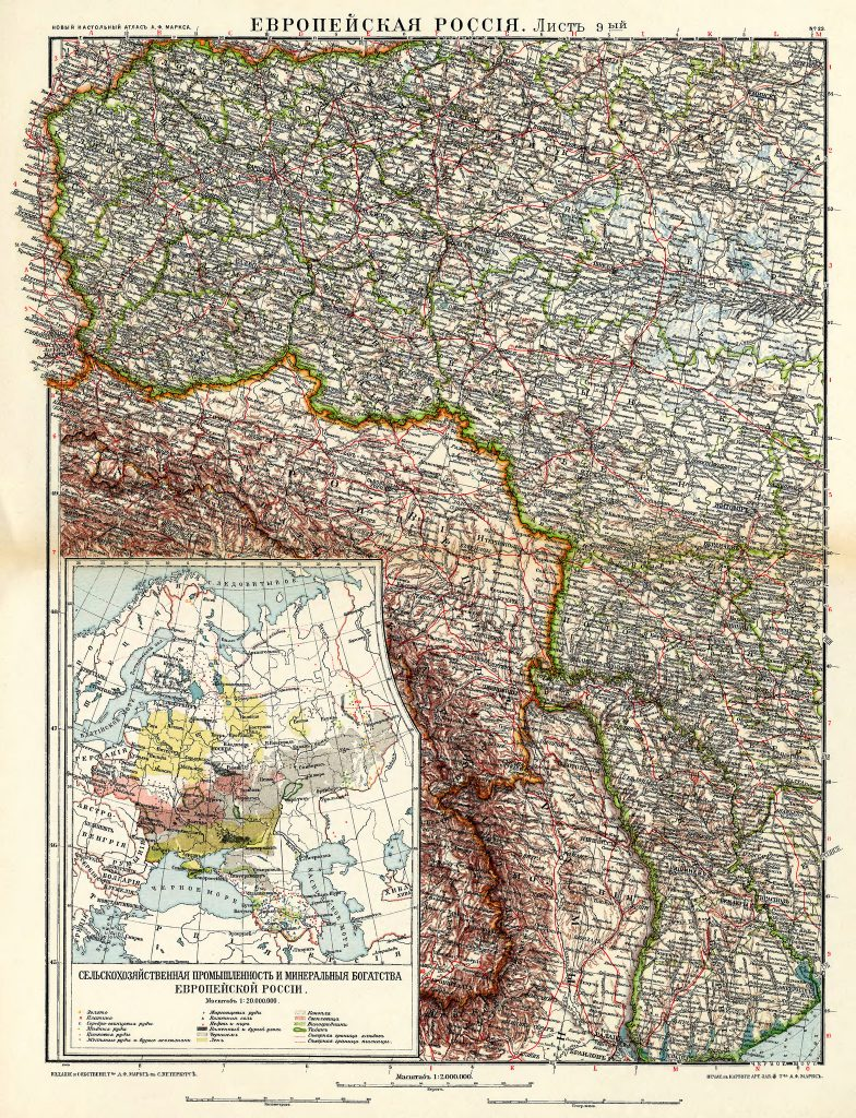 Карта Западной России (Польши, Бессарабии, Беларуси, Украины), 1910 г.