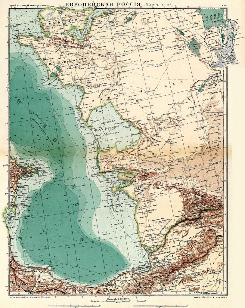 Карта Закаспийской области, 1910 г.