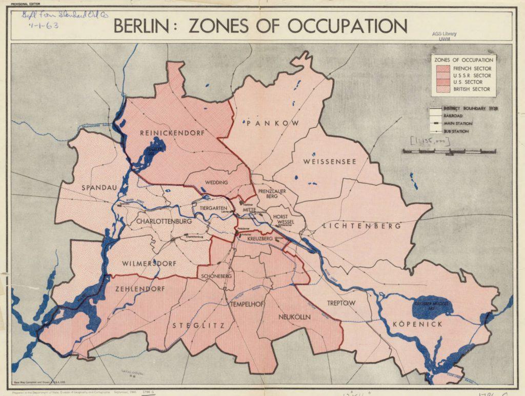 Карта оккупационных зон Берлина, 1945 г.