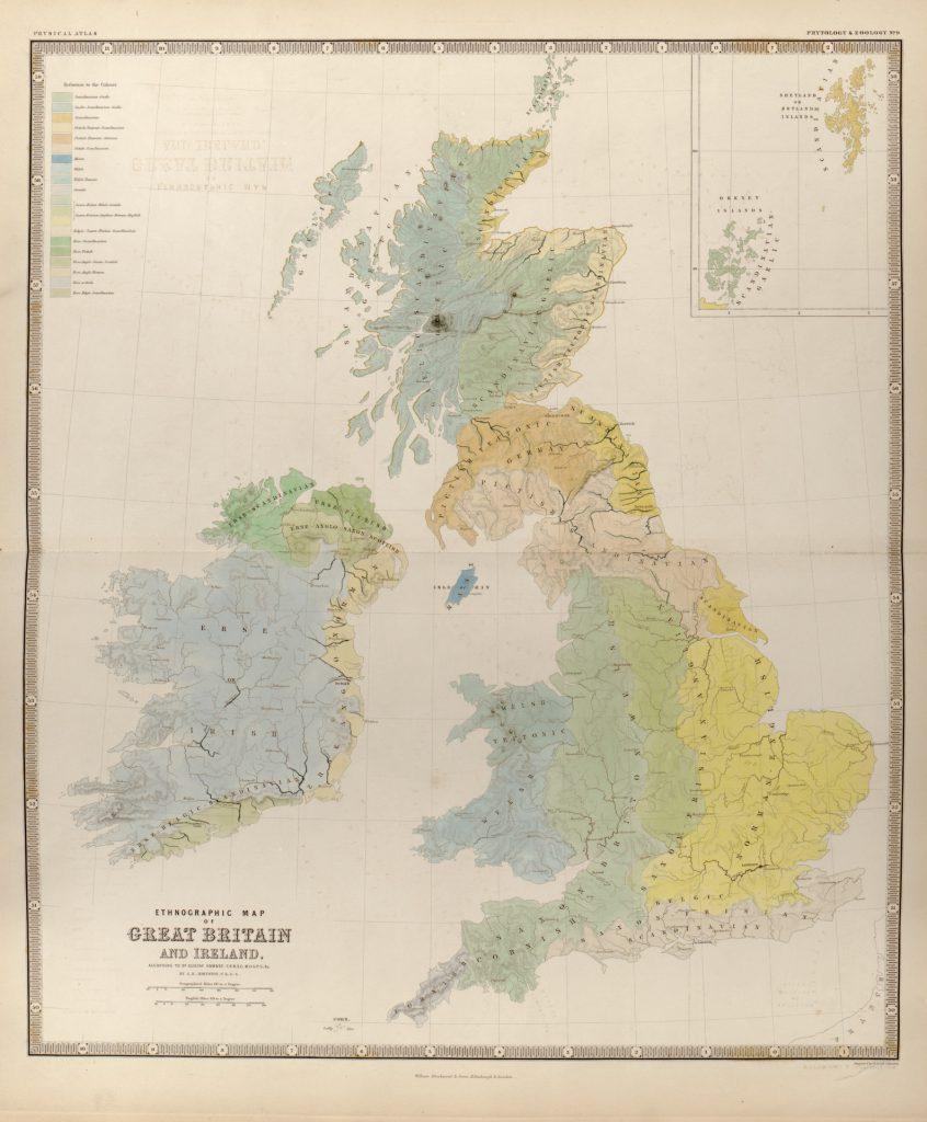Этнографическая карта Британии и Ирландии, 1848 г.