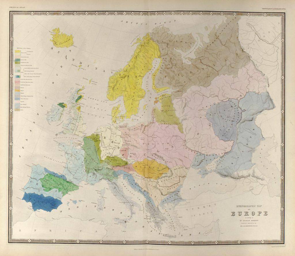 Этнографическая карта Европы, 1848 г.