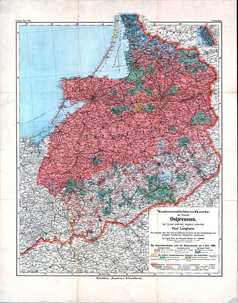 Лингвистическая карта Восточной Пруссии, 1900 г.