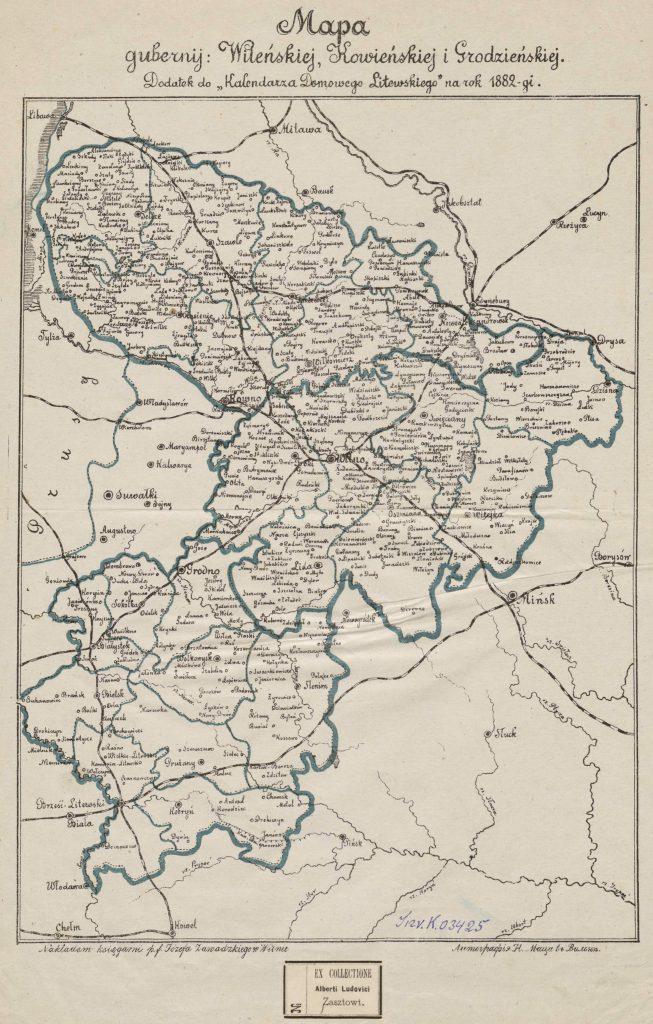 Карта Ковенской, Виленской и Гродненской губерний, 1882 г.