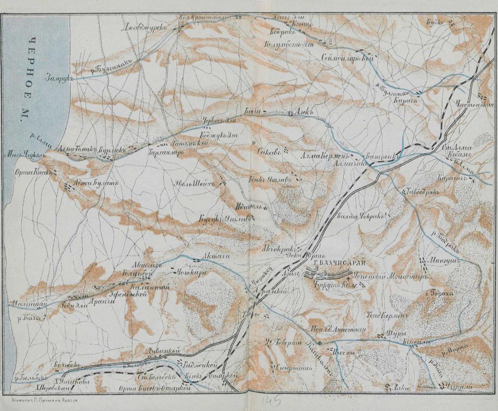 Карта окрестностей Бахчисарая, 1904 г.
