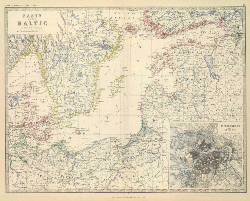 Карта Балтийского моря и прибрежных территорий, 1879 г.