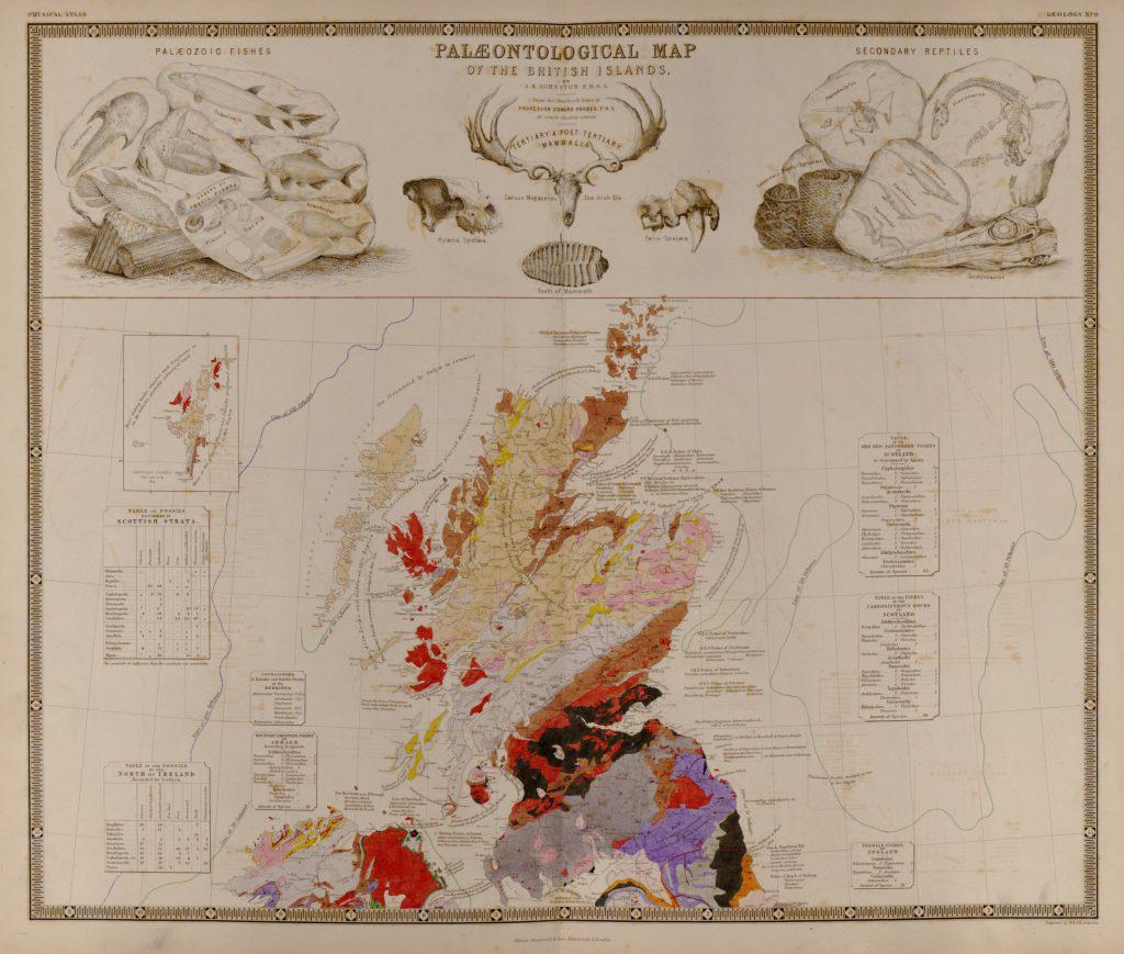 Палеонтологическая карта Британии и Ирландии, 1848 г.